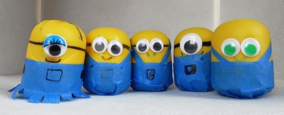 minion-themed shakers made from kinder eggs